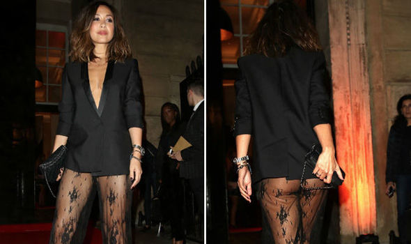 be12e4689f0c Myleene Klass flashes bare bottom and sideboob in sheer lace suit ...