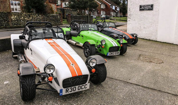 A General View Of Caterham Cars At Their Showroom
