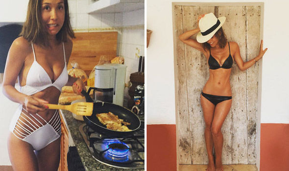 bea67dddd0 Myleene Klass riskily fries food while clad in revealing swimsuit on ...