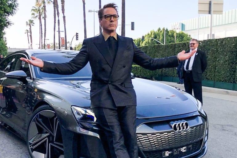Robert Downey Jr Pulls Up To Avengers Endgame Premiere In Audi E