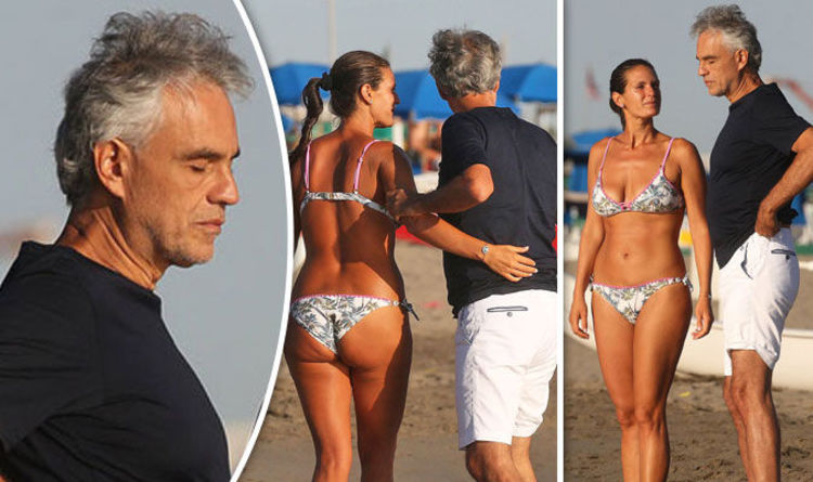 Andrea Bocelli, 58, relaxes with bikini-clad wife Veronica, 33, on romantic  beach date