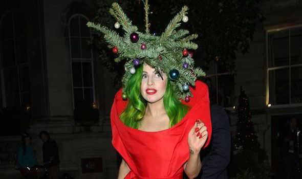 lady gaga dressed up as a human christmas tree last night