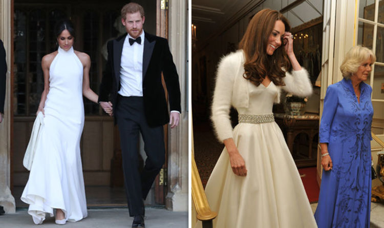 Meghan markle wedding dress her royal wedding reception dress meghan markle evening gown vs kate middleton how the royal reception dresses compared junglespirit Images