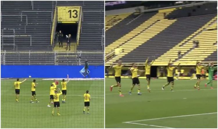 Borussia Dortmund Stars Salute Empty Yellow Wall After Win In Strange Bundesliga Moment Football Sport Express Co Uk