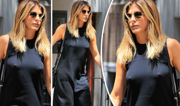 2f7f53fecc Jennifer Aniston ditches the bra and shows off NIPPLES in sheer ...