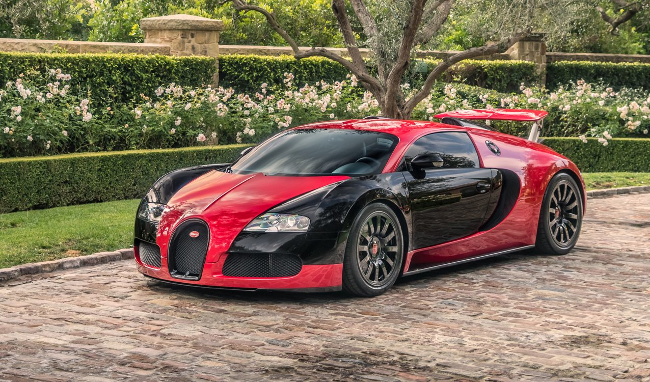 rarely seen red and black 2008 bugatti veyron for sale