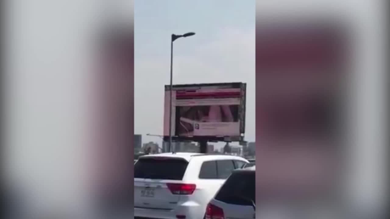 Hackers replace billboard sign with PORN
