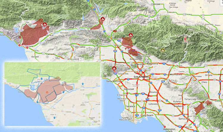California Fires Los Angeles Fire Evacuation Map Latest World