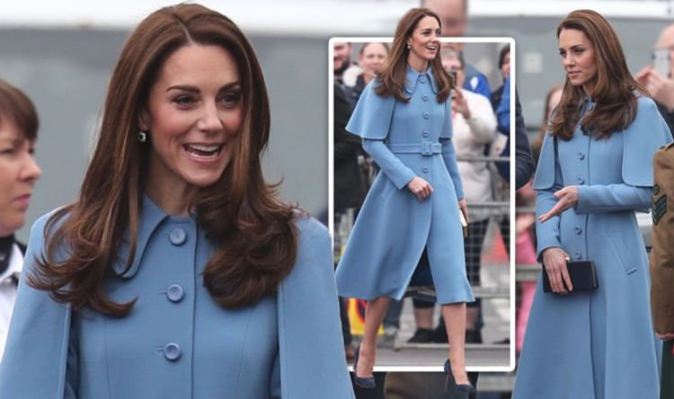 774636ba0ec Kate Middleton opts for VERY unusual look in blue cape style dress during  Belfast visit