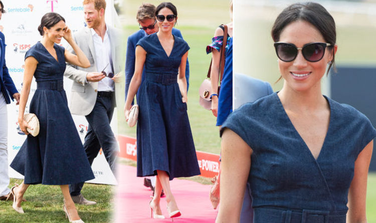 9eb0313967 Meghan Markle wears £3000 casual denim outfit to the Sentebale Polo to  watch Prince Harry