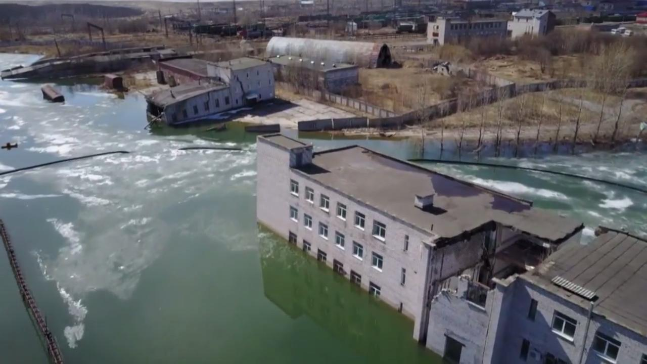 Drone footage captures sinking Russian ghost town Berezniki