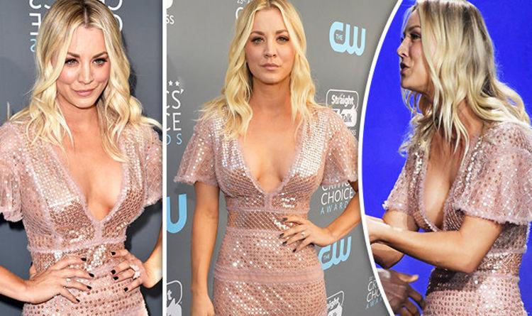 Critics Choice Awards 2018 Kaley Cuoco Wows In Boob Baring Dress Celebrity News Showbiz Tv Express Co Uk