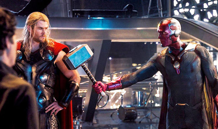 avengers age of ultron is this why vision could lift thor s hammer