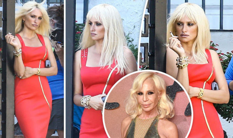 8659315873d Penelope Cruz is smoking hot as she channels Donatella Versace in plunging  red dress