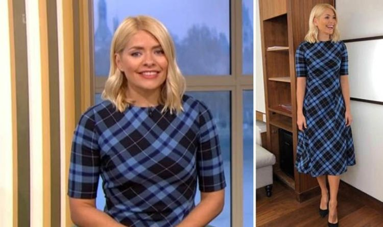 19fa01f58c93c4 Holly Willoughby looks chic in sold out Zara check dress on ITV s This  Morning