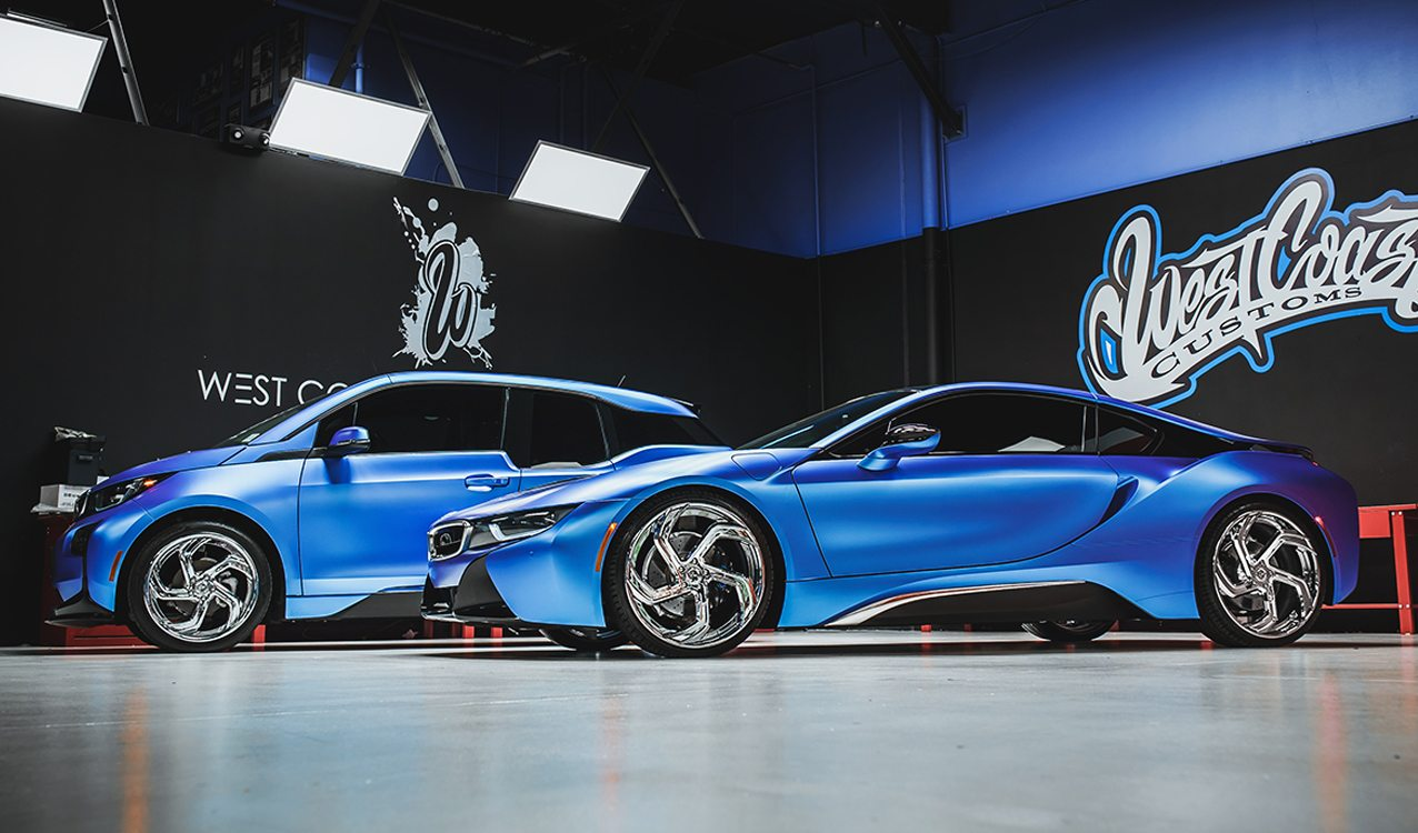 Duo Of Matte Blue Bmw I8 And I3 On Lexani Wheels