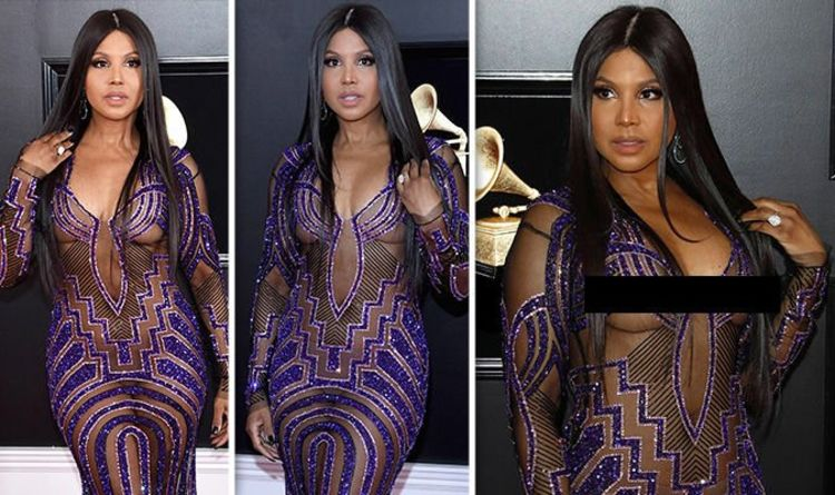 cdfe3673fc7 Toni Braxton exposes nipples in daring see-through dress as she bares all  at Grammys 2019