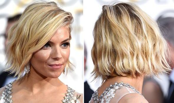 Sienna Miller's wavy bob hairstyle at the Golden Globes 2015 ...