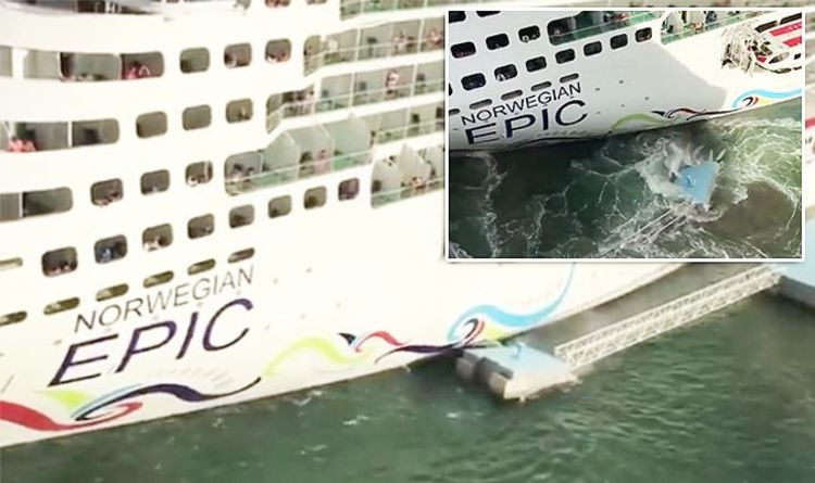 Cruise: Shocking moment Norwegian Cruise ship crashes into