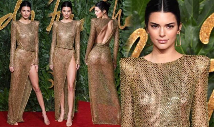 d9ec2ea4e3 Kendall Jenner leaves little to the imagination in see-through gown at  Fashion Awards 2018