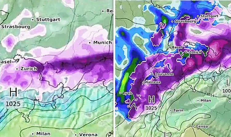 Snow Map Europe.Europe Weather Shocking Chart Shows Huge Snow Cloud Dump Piles Of