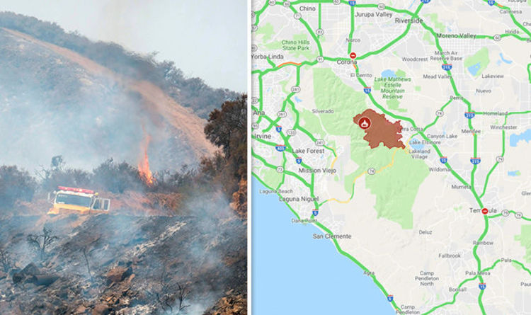 Holy Fire Map Latest California Fire Reaches 22 986 Acres Ash