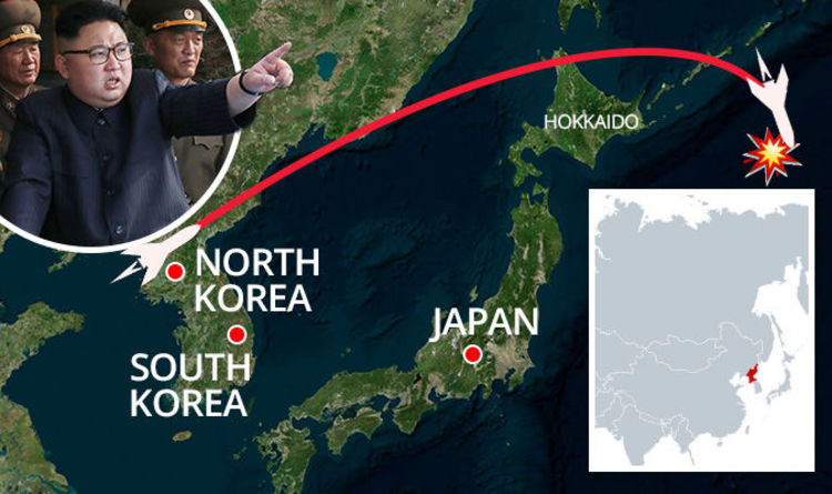 Hokkaido World Map.North Korea Missile Launch Mapped Shock Map Of Path Of Missile