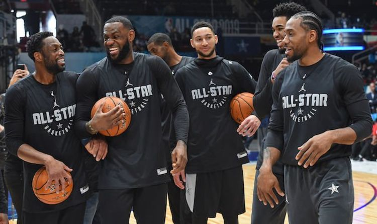 bf7ba86571d5 LeBron James makes UNBELIEVABLE half court shot at NBA All Star practice -  WATCH