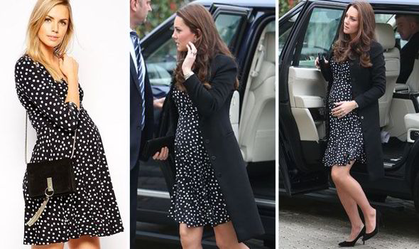 c061f61611 Pregnant Kate Middleton stepped out in a £35 black and white polka dot ASOS  dress