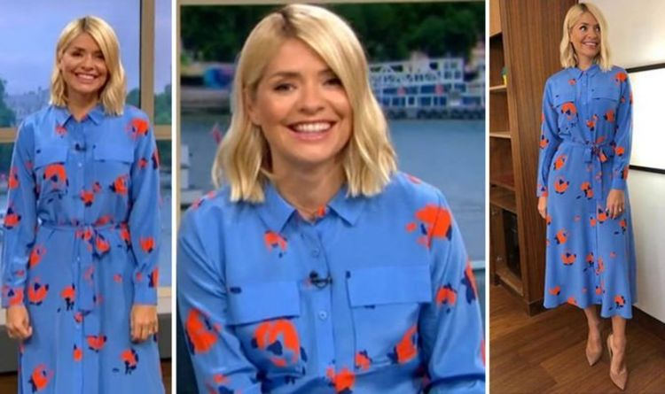 c13b2ae5bebf5 Holly Willoughby stuns in blue on This Morning - where to buy her look