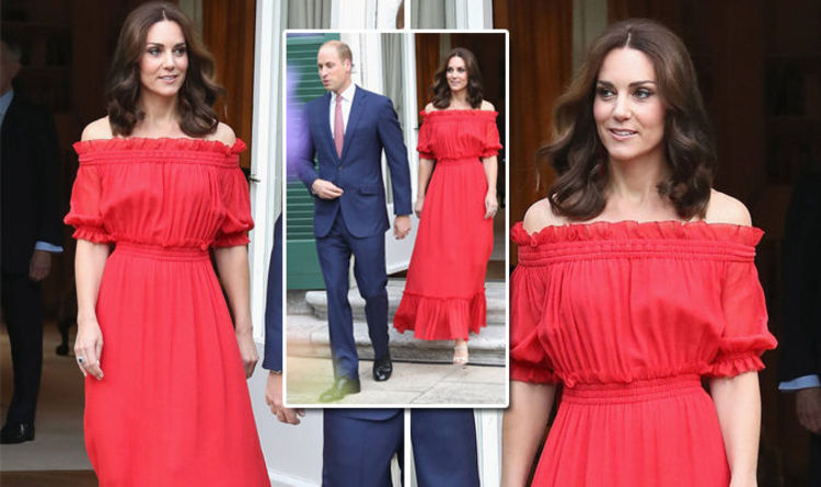 838f42b3180 Duchess of Cambridge looks red HOT in Spanish style dress for party in  Berlin. KATE MIDDLETON ...