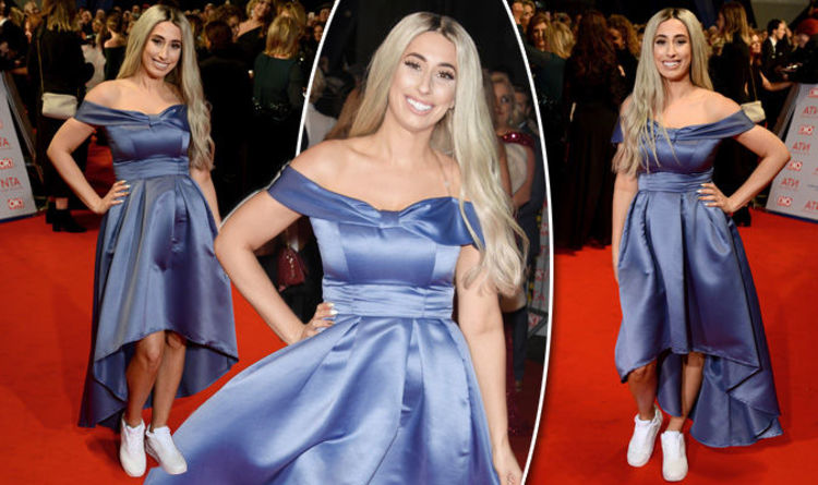 2123c31b5b7 NTA 2018  Stacey Solomon wears bizarre prom dress and trainers outfit on  the red carpet