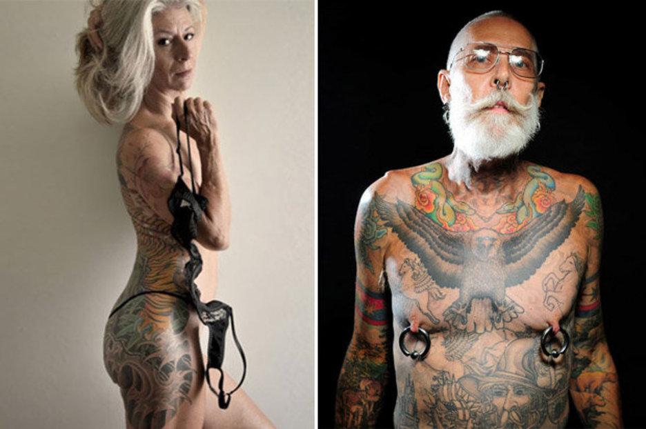 Naked tattoo mature woman