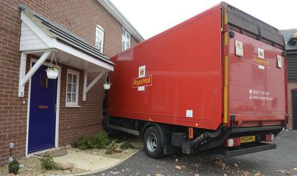A Man Escaped Certain After Royal Mail Lorry Crashed Into The Side Of His