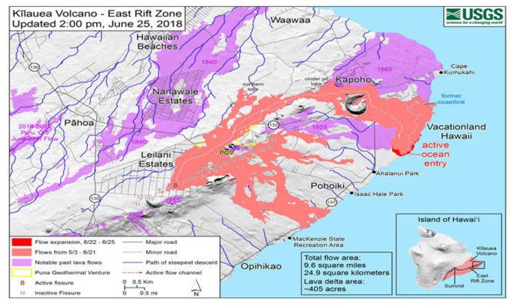 Hawaii volcano eruption update MAP: Kilauea lava covers 9.6 square ...