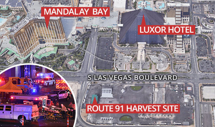 Las Vegas MAP Where is Mandalay Bay Las Vegas strip SHUT DOWN