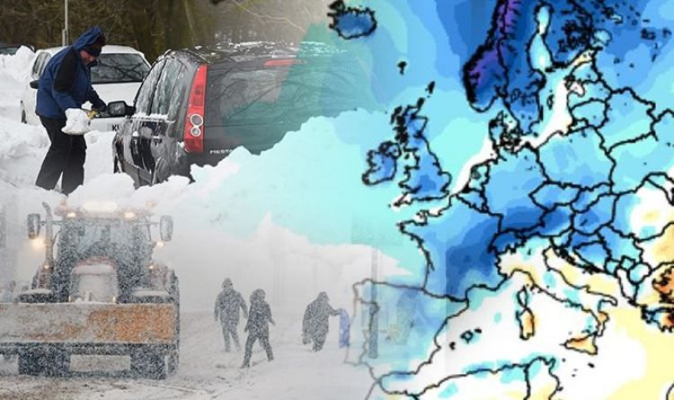 Map Of Uk In Europe.Uk Weather Forecast Latest Maps Of Extreme Snow System Over Europe