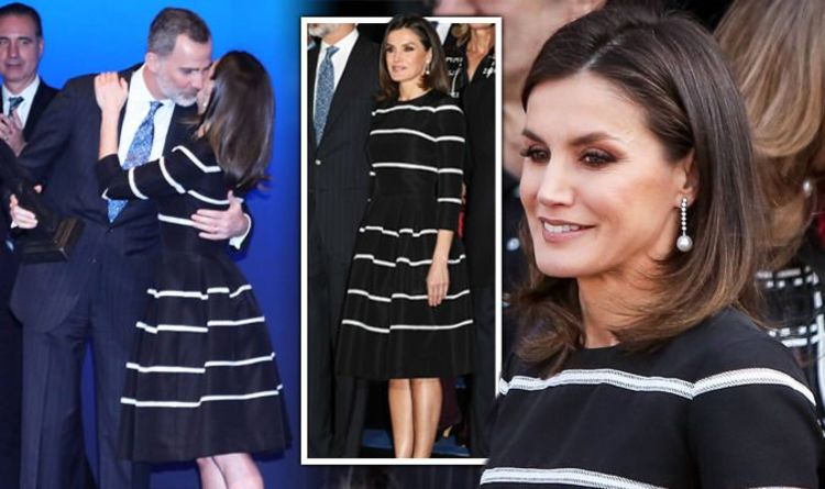 011875f424629 Queen Letizia of Spain rewears £3,100 look for loved-up outing with King  Felipe in Madrid