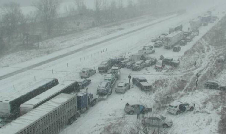 WATCH Shocking Scale Of Deadly 70 Car Motorway Pileup Revealed In Heavy Snow Chaos