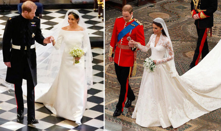 57bbf9f60c6 Meghan Markle wedding dress  Kate Middleton and Meghan s gowns compared