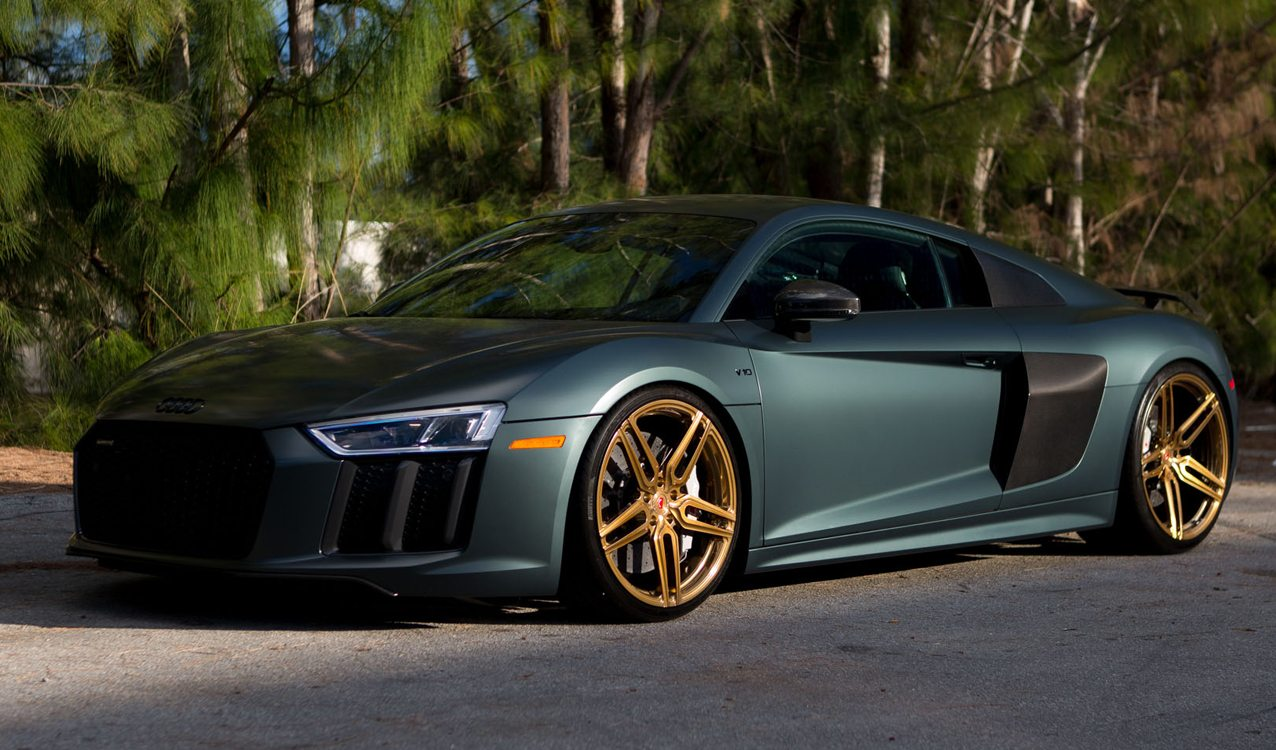 Green Matte 2017 Audi R8 V10 Plus On Vossen Wheels For Sale
