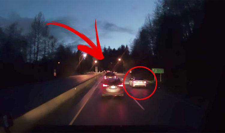 b37d8200d7b6 WATCH  Rogue driver who skips a WHOLE line of traffic suffers THIS instant  karma