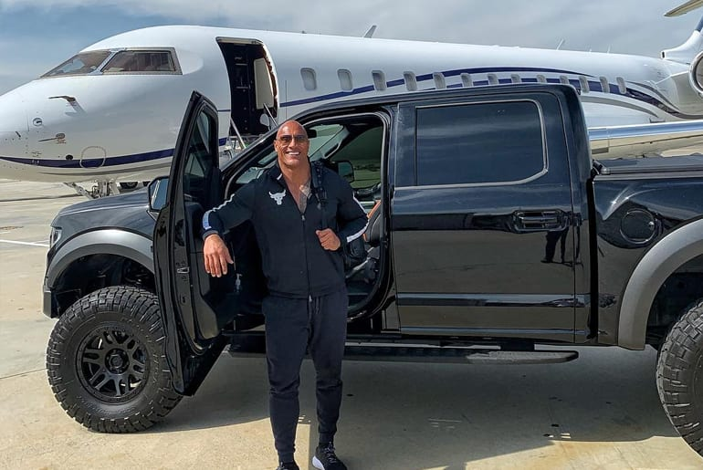 The Rock Uses Ford Raptor As Transport To Private Jet
