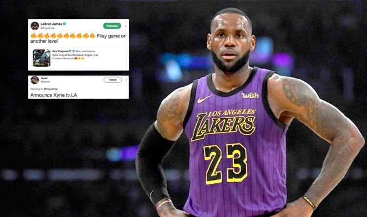 cce956695670 LeBron James  Lakers fans in MELTDOWN after Kyrie Irving hint -  Announce  Kyrie to LA