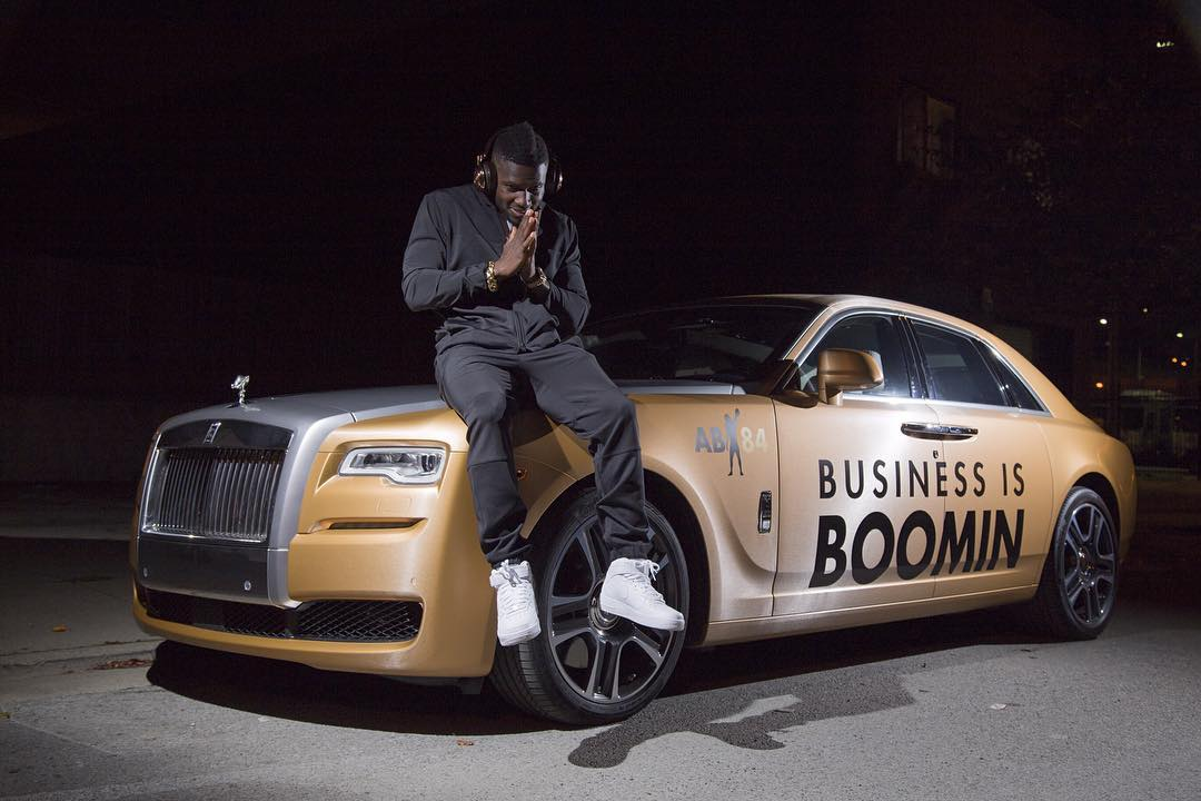 Antonio Brown Sports Rolls Royce Ghost Wrapped In Gold