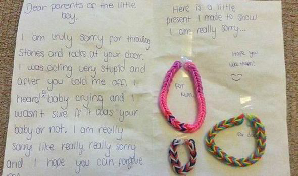 Girl Writes Adorable Apology Letter After Being Caught Throwing