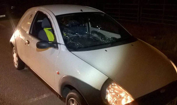 Arrested Drivers Ford Ka With Smashed Windscreen