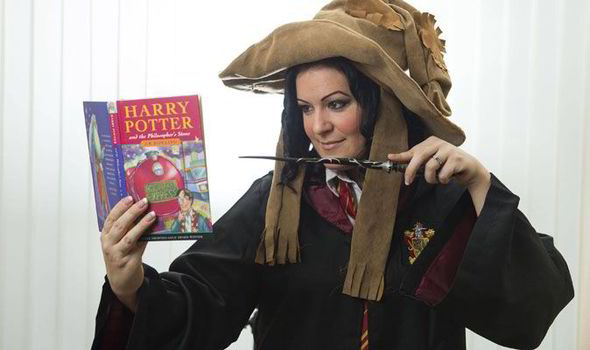 Victoria Maclean using her magic on a Harry Potter book