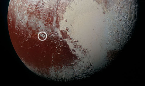 pictured the crater that shows pluto could support life in high