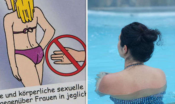 Having sex in swim suits pool